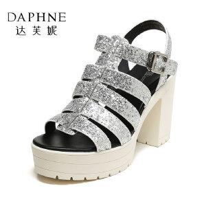 Daphne/达芙妮女鞋 夏优雅闪亮格利特高跟鞋粗跟女凉鞋
