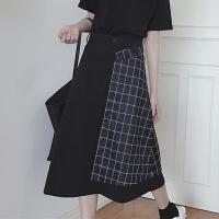 夏装女装韩版个性百搭格子撞色高腰半身裙中长款A字裙裙长裙显瘦