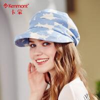 kenmont 帽子贝雷帽女夏天韩版潮时尚遮阳帽防晒可折叠棉麻鸭舌帽3338