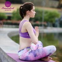 夏季锦纶背心带胸垫健身运动衣瑜伽服套装健美操三件套女 X
