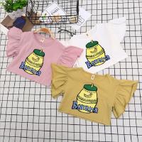 女童上衣夏季新款中小童香蕉牛奶印花珍珠打底衫全棉飞袖T恤