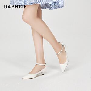Daphne/达芙妮2018春季新款气质优雅一字扣浅口猫跟尖头单鞋