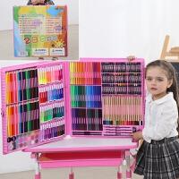 儿童水彩笔套装幼儿园小学生蜡笔绘画工具美术用品礼物画画笔礼品文具 288件粉色 配画本礼袋
