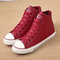环球冬季新款加绒加厚保暖情侣款棉鞋女韩版高帮平底学生休闲板鞋