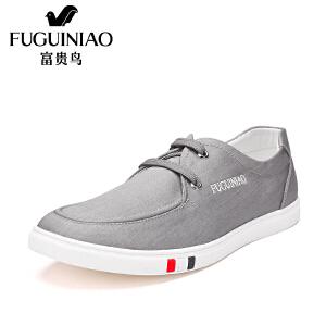 富贵鸟新款时尚韩版休闲简约百搭平底系带舒适男鞋