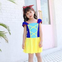 儿童泳衣女孩 中大童连体裙式 新款可爱韩国小孩女童游泳装