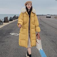 【极速发货 超低价格】棉衣女中长款2020新款秋冬过膝毛领韩版宽松休闲棉服加厚学生外套