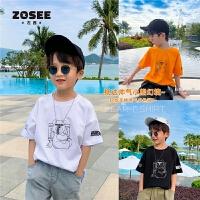 【2件2折】左西童装男童短袖T恤夏装儿童纯棉体恤潮牌中大童男孩2021新款潮