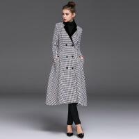 欧美秋冬新款女装欧美时尚撞色千鸟格长袖风衣外套大衣 图片色