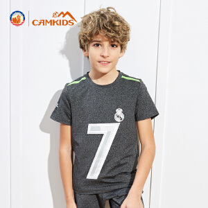 CAMKIDS男童短袖T恤透气2018夏季时尚新款中大小童男皇马速干T恤
