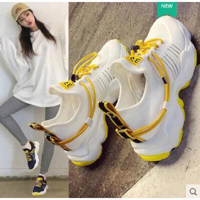 百搭潮款透气网鞋女子轻跑鞋休闲跑步鞋女网面鞋潮流网红运动鞋女 品质保证 售后无忧