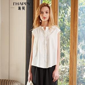 海贝2018夏装新款女上衣白色圆领无袖纯棉单排扣文艺宽松短袖衬衫