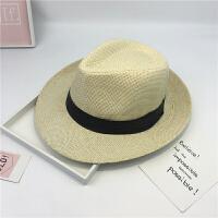 帽子男韩版夏季遮阳帽出游海边卷边青年礼帽户外沙滩度假爵士草帽 爵士 米色 M(56-58cm)