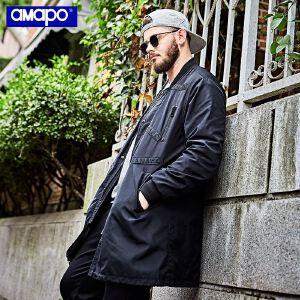 【限时抢购到手价:180元】AMAPO潮牌大码男装胖子肥佬加肥加大码宽松中长款风衣外套夹克男