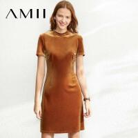 【到手价:112元】Amii极简法式赫本丝绒连衣裙女2020春季新款气质短袖修身显瘦裙子