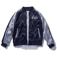 秋季刺绣棒球服男 青少年日系绸缎飞行服外套嘻哈运动夹克男 深蓝色