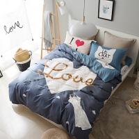 纯棉床上用品四件套全棉简约三件套1.8m双人床笠床单被子被套被单