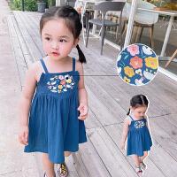女童连衣裙夏装中国风刺绣宝宝吊带裙长裙