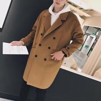 秋冬季中长款呢子大衣男韩版宽松青年风衣潮流毛呢外套加厚双排扣
