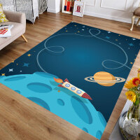 可爱卡通儿童房地毯客厅男女孩卧室床边满铺幼儿园爬行地垫可机洗 太空蓝 翱翔