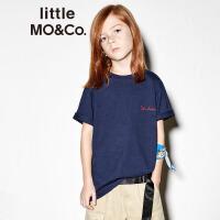 【折后价:89.7】littlemoco夏季新品儿童T恤配印花领巾字母刺绣圆领全棉短袖T恤
