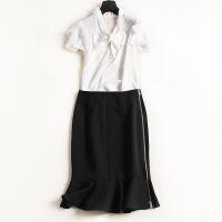 百褶两件套连衣裙修身裙蝴蝶结飞飞袖雪纺上衣修身荷叶半裙64 黑白