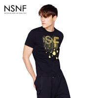 NSNFLOGO灯泡印花纯棉圆领黑色T恤 2017新款 设计师潮流男装 修身圆领针织短袖