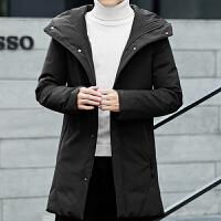 反季男士羽绒服修身中长款冬季新款韩版加厚白鸭绒外套潮 黑色 M