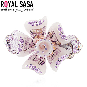 皇家莎莎Royalsasa韩版头饰时尚流行款亚克力镶钻发夹发饰-与你绽放