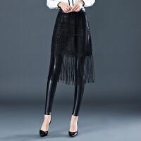 秋冬季加绒加厚打底裤女外穿大码弹力高腰紧身蕾丝皮裤假两件裙裤