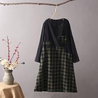 K2长袖连衣裙女2018春秋新宽松大码格子拼色 棉麻A字中长裙子0.38