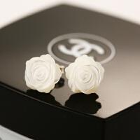 ????韩国天然贝壳玫瑰花S925纯银耳钉耳饰耳环女简约气质防过敏