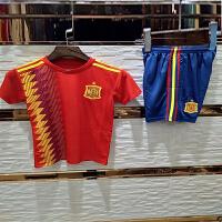 2018世界杯西班牙主场儿童足球服套装 小孩球衣 宝宝球服队服足球服 可印字印号 西班牙