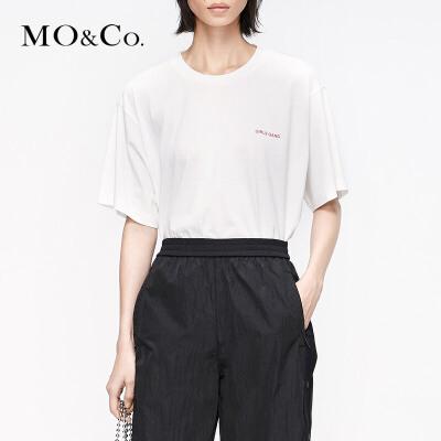 MOCO2019夏季新品纯棉镂空露背字母印花T恤MAI2TEE030 摩安珂 满399包邮 镂空露背 纯棉面料