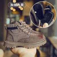男童马丁靴女童靴子加绒保暖短靴秋冬款擦色儿童鞋子
