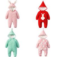 婴儿童连体衣服0岁3个月女宝宝新生儿秋冬装冬季哈衣秋季秋装棉衣