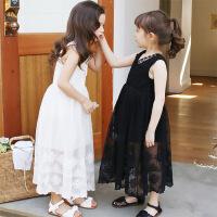 女童无袖连衣裙2018夏款儿童中大童长款礼服裙韩版蕾丝拼接公主裙