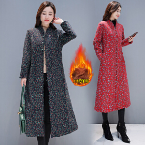 棉衣女长款2018冬装民族风印花加绒加厚复古棉麻外套