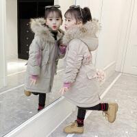 2018新款儿童韩版女孩洋气中长款冬季字母棉袄外套