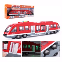 超大号地铁惯性车和谐号动车组火车头儿童玩具车仿真高铁模型男孩 声光地铁-红色 超大号,43厘米长