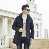冬季中长款羽绒服保暖男加厚白鸭绒羽绒外套时尚帅气上衣潮牌衣服