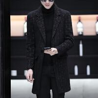 毛呢大衣男中长款青年韩版修身秋季翻领风衣秋装加厚呢子外套男装