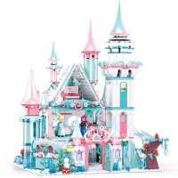 小鲁班�犯呋�木女孩系列冰雪7奇缘公主城堡益智力动脑拼装玩具6岁