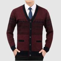 新款中年男V领羊毛衫冬季中老年男士毛衣鸡心领爸爸装宽松针织衫