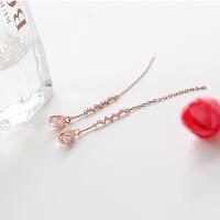 耳线女气质韩国简约银个性流苏耳环长款耳坠百搭大气 玫瑰金 925银针