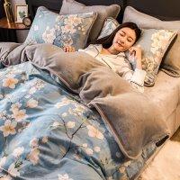 【支持礼品卡】冬季珊瑚绒四件套双面绒加厚法兰绒法莱绒网红女床上用品被套床单 y6z