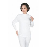 秋衣秋裤中老年人女纯棉中高领保暖内衣大码妈妈棉毛衫套装白色