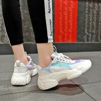 新款女士学生跑步运动鞋子 时尚亮片镭射松糕厚底单鞋女 ins潮休闲女鞋子