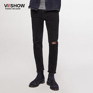 VIISHOW春夏新款牛仔裤男破洞猫须直脚长裤青年修身水洗牛仔裤子