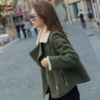 毛呢外套女短款秋冬新款韩版百搭羊羔毛学生矮个子呢子大衣 绿色 X